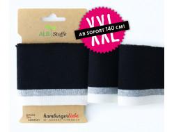 Bande bord-côte coton bio - Noir & Blanc