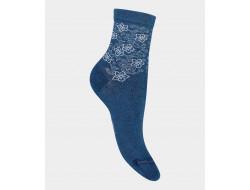 Socquettes Effet jean fleurs Coton Bleu