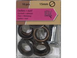 Œillets avec rondelles 15 mm - Bronze