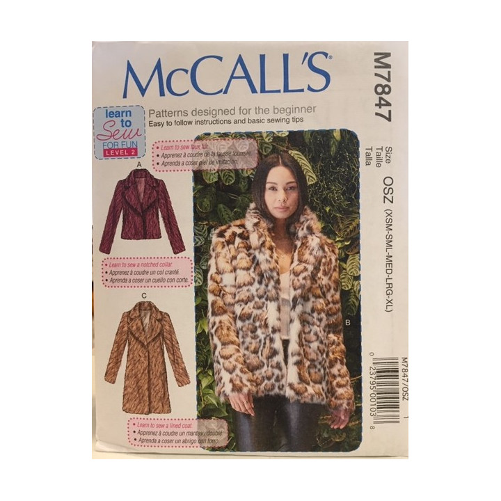 Patron  manteaux pour femme McCall's M7847