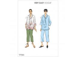 Patron de haut, écharpe et pantalon - Vogue 9364