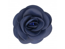 Broche fleur tissu bleu marine