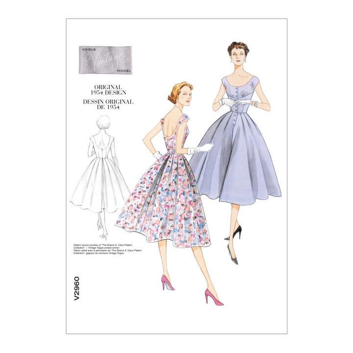 Patron de robe Vintage - Vogue 2960, Mercerie Floriane