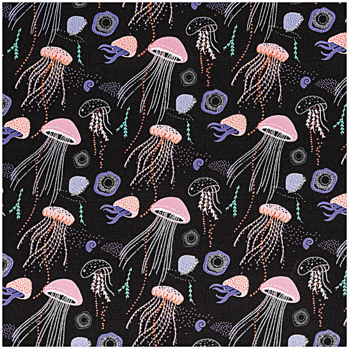 Tissu coton méduses irisées - Rico Design