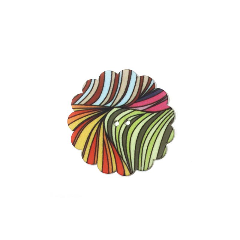 Bouton fantaisie - Fleur multicolore, Mercerie Floriane
