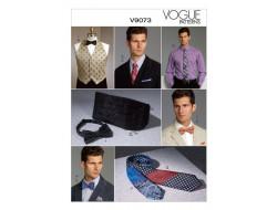 Patron de gilet, ceinture, pochette et cravates - Vogue 9073