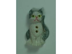 Bouton chat gris et blanc