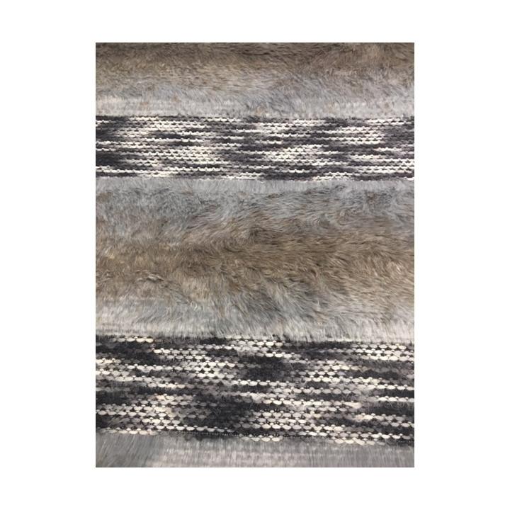 Tissu fourrure tissage nuancé bru