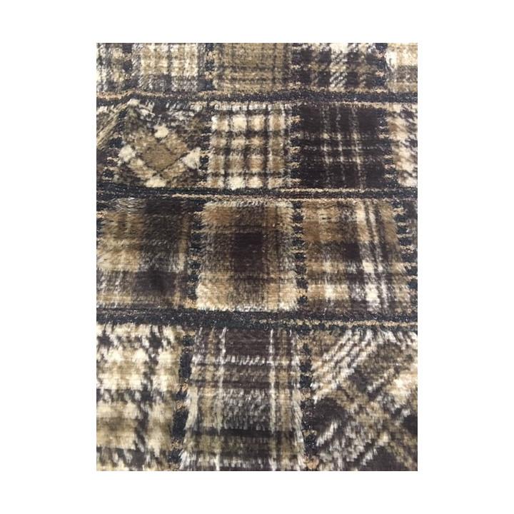 Tissu fourrure patchwork tissage marron