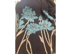 Tissu laine marine décor floral