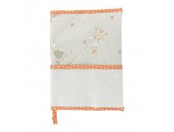 Protège carnet de santé à broder lapins - orange