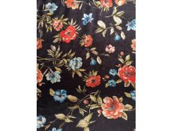 Tissu panne de velour imprimé fleuri corail et bleue