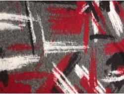 Tissu laine rouge, noir, blanc sur fond gris
