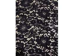 Tissu dentelle guipure viscose coton Marine