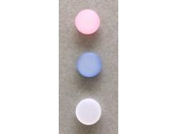 bouton pastille blanc, rose, bleu