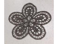 Écusson thermocollant fleur grise
