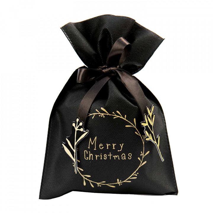 Petit sac cadeau couronne, noir