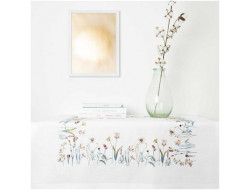 Kit de broderie - Nappe impression fleurs