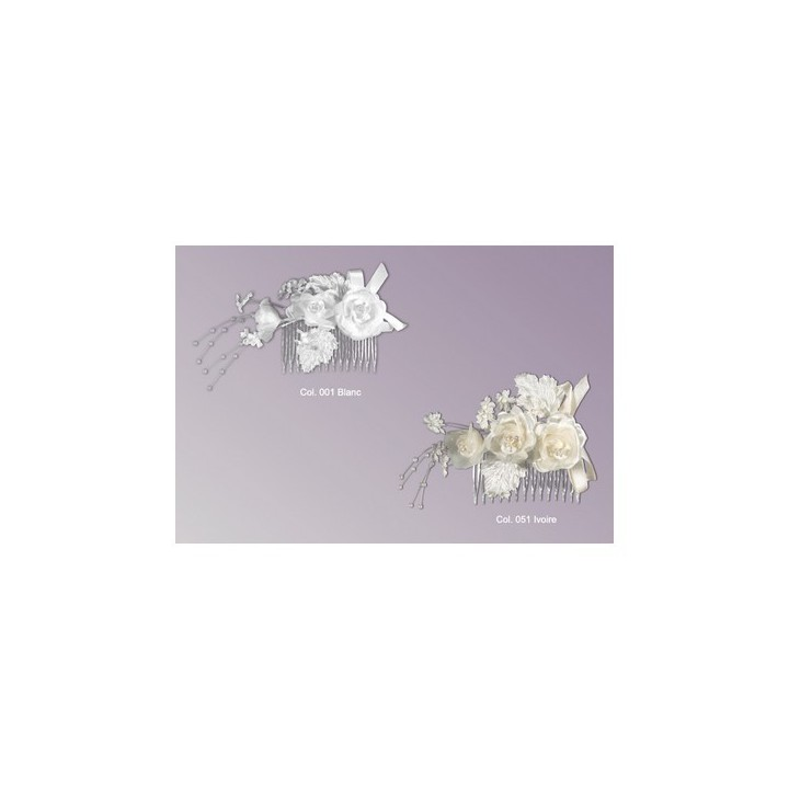 Peigne fleurs & perles