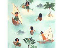Tissu popeline de coton Polynesian Seafarers - Katia Fabrics
