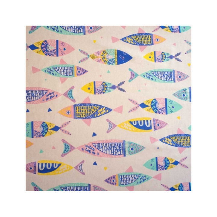 Tissu Canvas Colour Fishes - Katia Fabrics