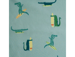 Tissu Coton Waterproof Surfing Crocodile - Katia Fabrics