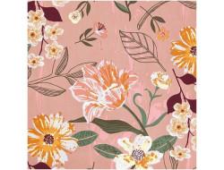 Tissu coton fleuri rose