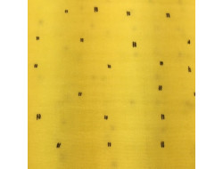 Tissu mousseline jaune traies gris