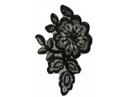 Écusson à coudre fleur noire