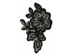 Ecusson thermocollant fleurs noires