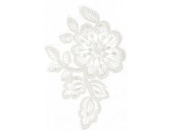 Ecusson thermocollant fleur blanche