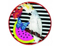 Écusson thermocollant perroquet fond zèbre