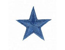 Écusson thermocollant étoile bleu métallisé