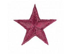 Écusson thermocollant étoile fuchsia métallisé