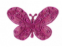 Ecusson thermocollant papillon dentelle rose