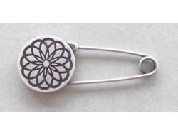 Épingle fantaisie fleur métal Argent