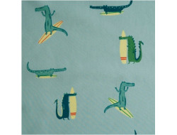 Tissu popeline de coton Surfing crocodile