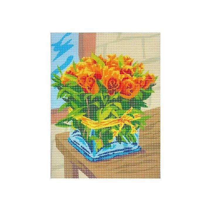 canevas bouquet de roses