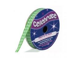 Bobine Celebrate ruban vichy vert En 6 ou 9 mm