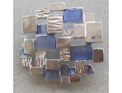 Bouton fantaisie bleu et argent 33 mm