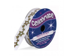Bobine Celebrate ruban satin blanc étoiles
