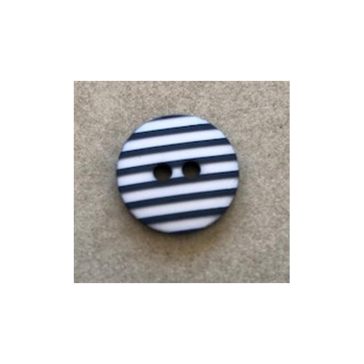 Bouton rayé marine 12 mm