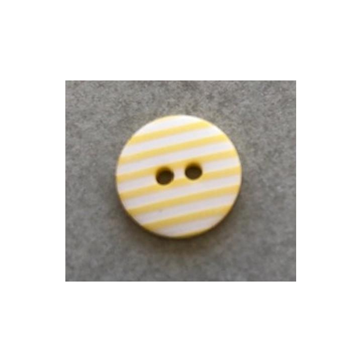 Bouton rayé jaune 12 mm