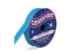 Bobine Celebrate ruban gros grain bleu glacier En 9 ou 15 mm