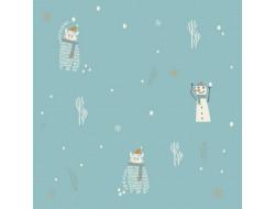 Tissu popeline de coton Yéti et Snowman - Katia Fabrics