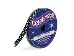 Bobine Celebrate ruban gros grain noir à pois En 6 ou 13 mm
