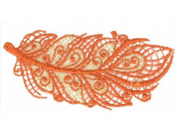 Écusson thermocollant plume dentelle orange