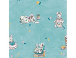 Tissu popeline de coton Little Rat reading - Katia Fabrics