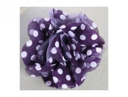 Broche fleur violette à pois en mousseline