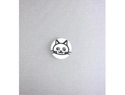 Bouton rond tête de chat blanc 12 mm